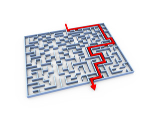 3d solved labyrinth maze puzzle