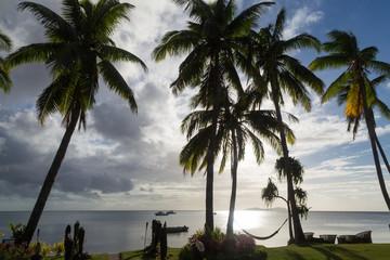 Tropical island  at sunset. Fiji. Beqa Island.