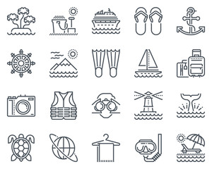 Holiday, beach icon set