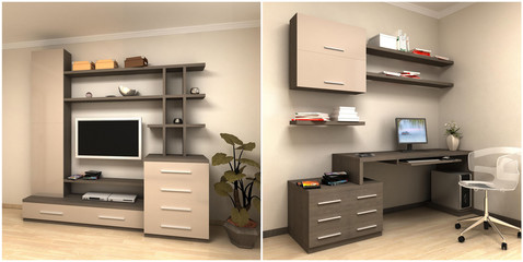 render of home work station and tv set