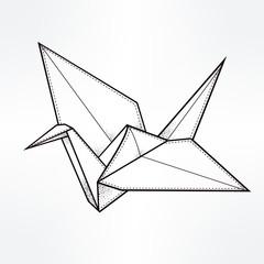 Vector stylized paper crane.