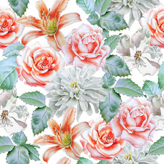 Seamless pattern with flowers. Rose. lily. Chrysanthemum. Watercolor.