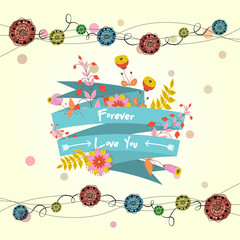 Vector cute card with ribbon and flowers