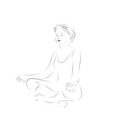 Девушка медитирует, йога. Силуэт девушки в позе лотоса, спортивные упражнения.