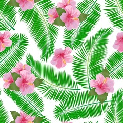 Tropical seamless pattern with palm leaves, hibiscus flowers.