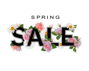 Spring sale background, banner with flowers, roses and chamomiles.
