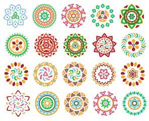 Collection of bright colorful geometric round ethnic decorative elements. Vector mandala backgrounds with bohemian, Oriental, Indian, Arabic, Aztec motifs.
