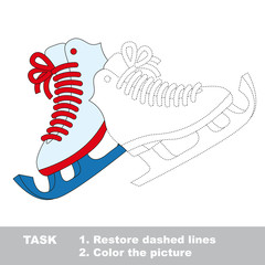 Skates to be colored. Vector trace game.