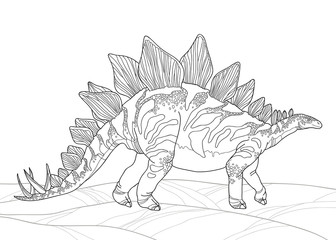 Vector illustration of Stegosaurus armatus or covered lizard isolated on white background. Series of prehistoric dinosaurs. Fossil animals and reptiles in contour style.