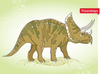 Vector illustration of Triceratops from family of large horned dinosaurs on the green background. Series of prehistoric dinosaurs. Fossil animals and reptiles in contour style.