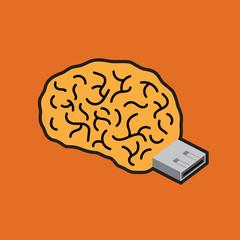 Brain USB flash. Creative illustration.