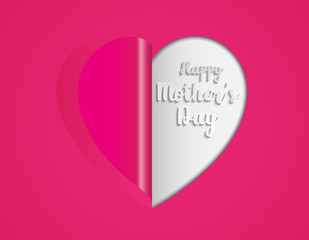 Pink paper heart folding Mother's Day greeting card
