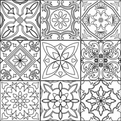 Set of 9 tiles in black and white.