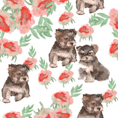 background colors and small dogs. seamless pattern Yorkie. water