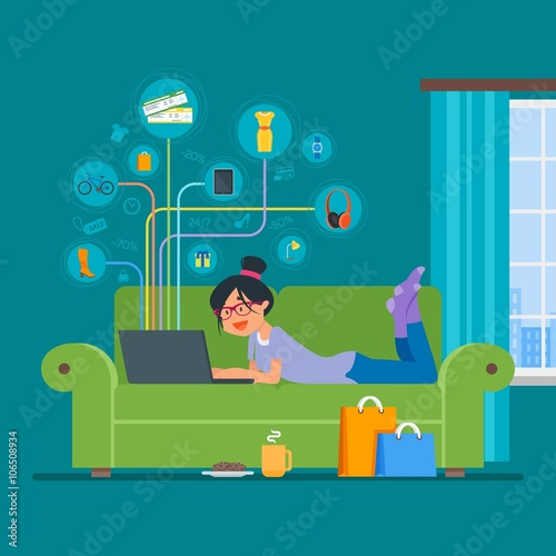 Online shopping concept vector illustration flat style design  Girl shop on  internet staying at home. Online shopping concept vector illustration flat style design