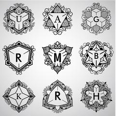 Template design for monogram, label, logo in overlapped style. Vector illustration.