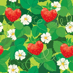 Seamless pattern. Strawberries in heart shapes with flowers and
