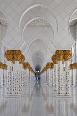 Beautiful marble columns of Shiekh Zayed Grand Mosque, Abu Dhabi, UAE