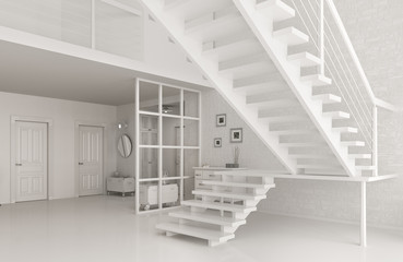 Interior of white hall with staircase 3d rendering