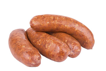 Group of raw sausage isolated on white background.