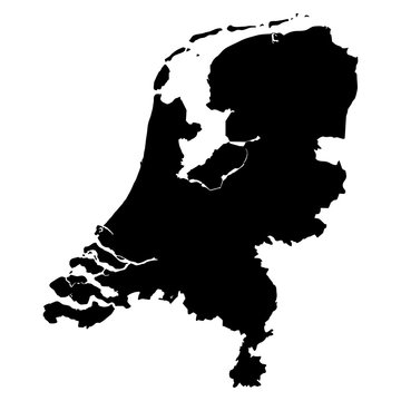 Netherlands black map on white background vector