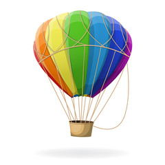 Hot air balloon in rainbow colors isolated.