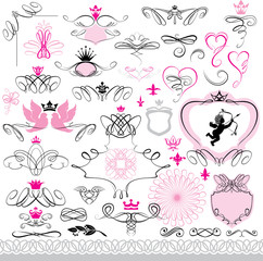 Set of calligraphic design elements and page decoration with hea