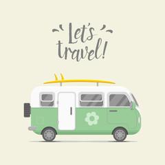 Vector caravan trailer. Trailer home illustration