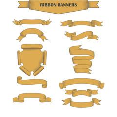 Vintage ribbon banners, hand drawn set