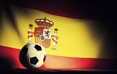 Flag of Spain with football on wooden boards as the background. Vintage Style.