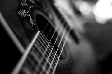 Westerngitarre, schwarz weiß