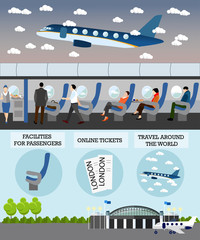 Airline travel passengers concept vector banner. People in airplane. Aircraft transport interior