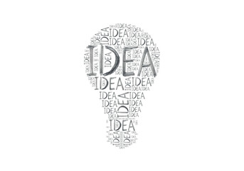 Hand-drawn words Idea different size written many times making symbol of light bulb