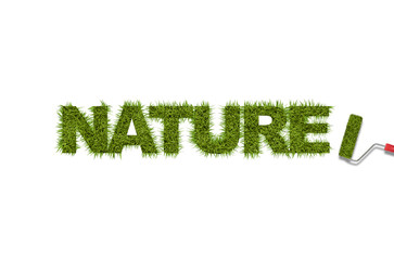 Grass word written by roller isolated on white background