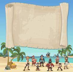 Big pirate map and cartoon pirates on a beautiful tropical beach