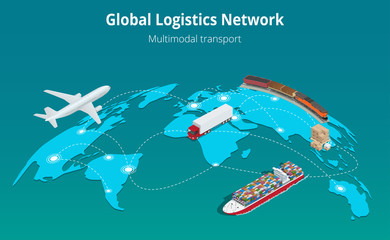 Global logistics network Web site concept Flat 3d isometric vector illustration Air cargo trucking rail transportation maritime shipping On-time delivery Vehicles designed to carry large numbers cargo