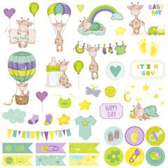 Baby Boy Giraffe Scrapbook Set. Vector Scrapbooking. Decorative Elements