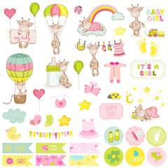 Baby Boy Giraffe Scrapbook Set. Vector Scrapbooking. Decorative Elements