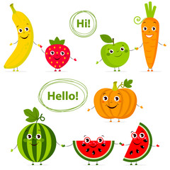 Funny fruits and vegetables with eyes in flat style. Carrot, strawberry, .pumpkin, watermelon, banana, apple. Colorful Vector Clip art. Isolated illustration on white