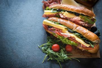 Juicy submarine sandwiches