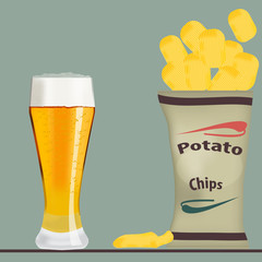 pack of chips and glass of beer