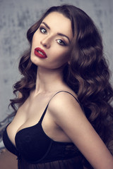fashion beauty portrait of pretty brunette