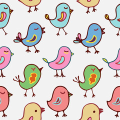 Seamless pattern cartoon birds