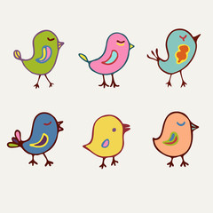 Birds collection of line art cartoon color birds