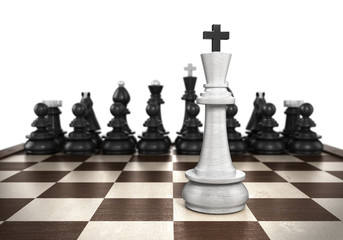 winning concept White king stands on a chessboard foreground wit