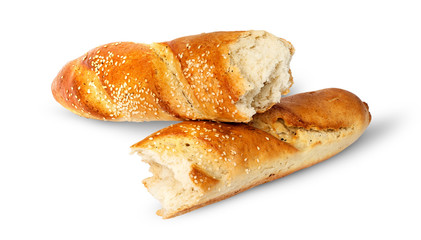 Two pieces of French baguette crosswise