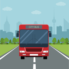 Picture of bus on the road with forest and big city silhouette on background, flat style illustration