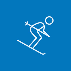 Downhill skiing line icon.