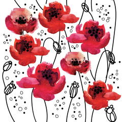 Stylish seamless pattern with poppy flowers . Vector freehand drawing with watercolor texture.
