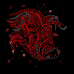 Abstract vector bloody head of a pig. The protection of animals